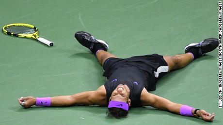 Rafael Nadal dropped to the court after winning the US Open Sunday.