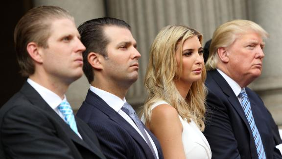 In this July 2014 file photo, Trump family members (L to R) Eric Trump, Donald Trump Jr., Ivanka Trump and Donald Trump attend the Trump International Hotel Washington, D.C Groundbreaking Ceremony at Old Post Office in Washington, DC.