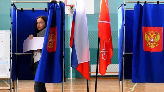A woman votes in the governor's election in Saint Petersburg on Sunday. Russians voted in local and regional polls on September 8.