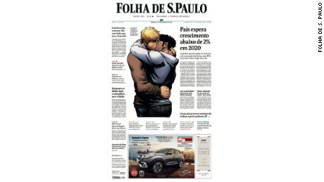 The front page of the Folha De S.Paulo on Saturday shows a frame from an Avengers comic in which two men are seen kissing.