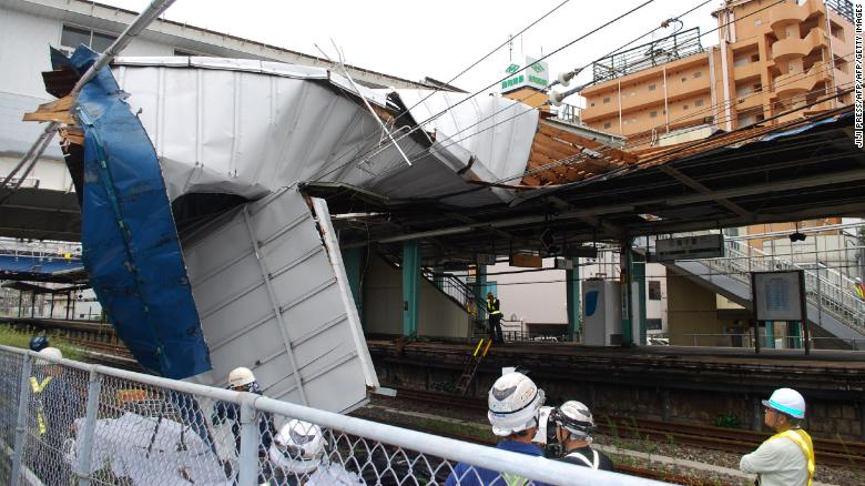The damaged roof of Higashi Chiba station caused by typhoon Faxai in Chiba on September 9, 2019.