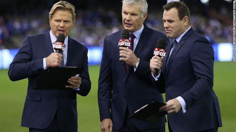 Danny Frawley (C) had commentated on the AFL for Triple M, Fox Sports, SEN and the Nine Network