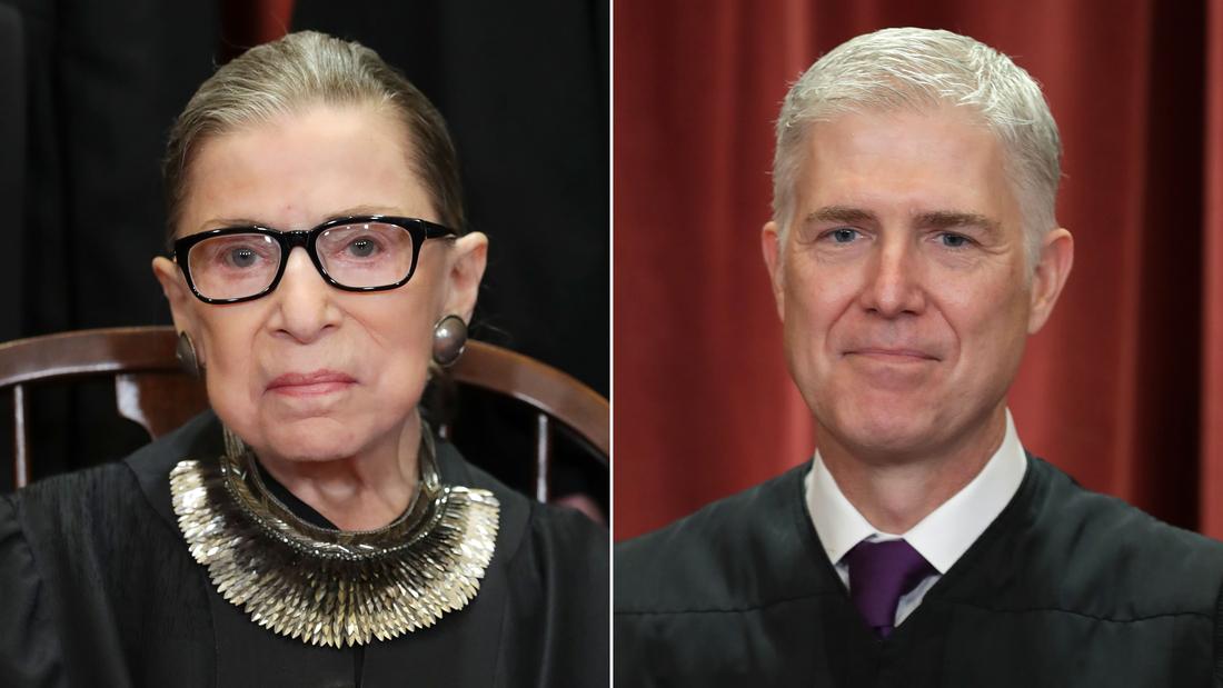 Wie Ruth Bader Ginsburg, begrüßte Neil Gorsuch an den obersten Gerichtshof