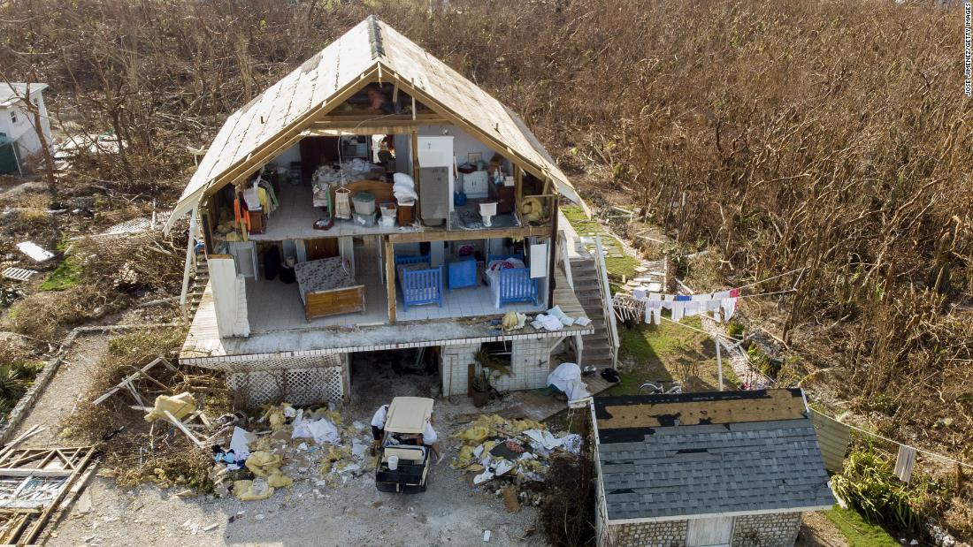 A damaged home in Hope Town, Bahamas.