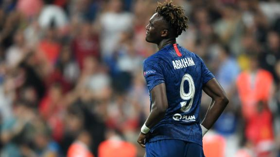 Chelsea's English striker Tammy Abraham reacts after failing his penalty during the shoot-out at the UEFA Super Cup 2019 football match between FC Liverpool and FC Chelsea at Besiktas Park Stadium in Istanbul on August 14, 2019. (Photo by OZAN KOSE / AFP)        (Photo credit should read OZAN KOSE/AFP/Getty Images)