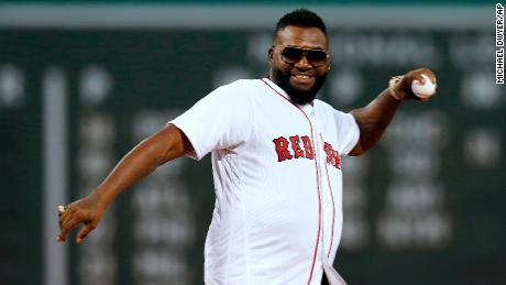 Former Boston Red Sox player David Ortiz throws out a ceremonial first pitch before a baseball game in Boston's Fenway Park on Monday.