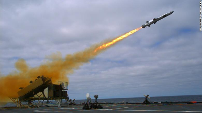 A Naval Strike Missile is launched from the littoral combat ship USS Coronado  during missile testing operations off the coast of Southern California in 2014.