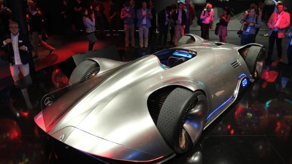FRANKFURT AM MAIN, GERMANY - SEPTEMBER 09: A Mercedes-Benz Vision EQ Silver Arrow stands on display at the Mercedes-Benz media preview at the 2019 IAA Frankfurt Auto Show on September 09, 2019 in Frankfurt am Main, Germany. The IAA will be open to the public from September 12 through 22. (Photo by Sean Gallup/Getty Images)
