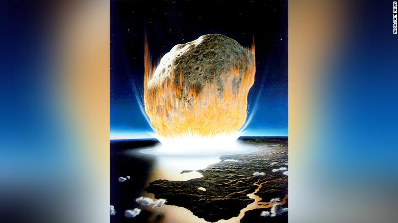 This artist's interpretation shows what the asteroid that killed most dinosaurs might've looked like. It couldn't kill many of Earth's microbacteria, though, which were largely responsible for fueling the return of life on the planet.