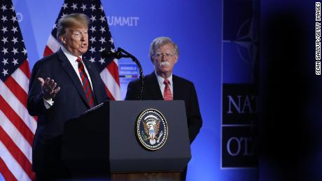 BRUSSELS, BELGIUM - JULY 12:  U.S. President Donald Trump, flanked by National Security Advisor John Bolton, speaks to the media at a press conference on the second day of the 2018 NATO Summit on July 12, 2018 in Brussels, Belgium. (Photo by Sean Gallup/Getty Images)