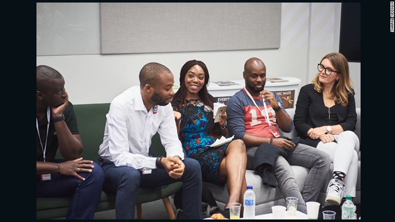 Osifo with 54gene chief of staff Abi Galadima (center) discussing their work at a recent Google event in London.