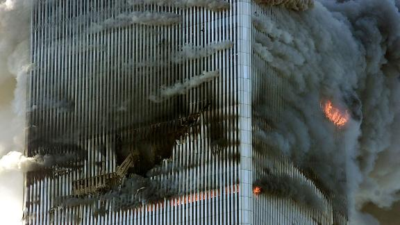 Fire and smoke are seen from the north tower.