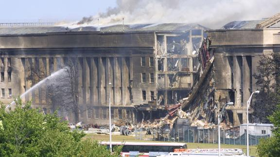 Firefighters try to control the flames at the Pentagon.