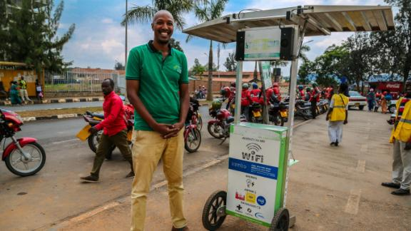Founder Henri Nyakarundi leases Shiriki Hubs, solar-powered kiosks that can charge phones and provide Wi-Fi.