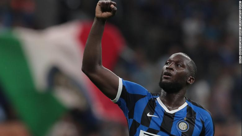Romelu Lukaku celebrates a goal for Inter Milan.