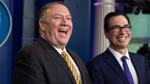 Secretary of State Mike Pompeo and Treasury Secretary Steve Mnuchin speak with reporters in the briefing room of the White House.