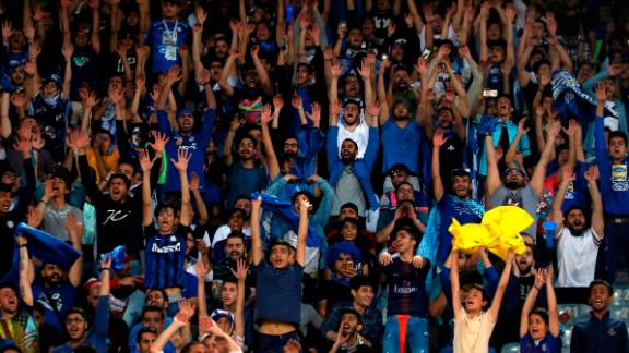 Esteghlal supporters attend the AFC Champions League group C football match between Iran