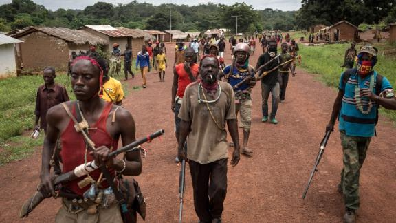 Antibalaka fighters walk in Gambo, southeast Central African Republic.