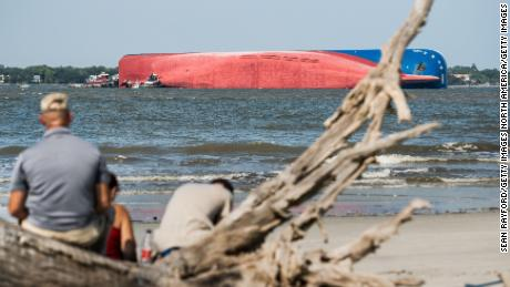 Capsized cargo ship off Georgia coast hasn't spilled much gas or oil, Coast Guard says