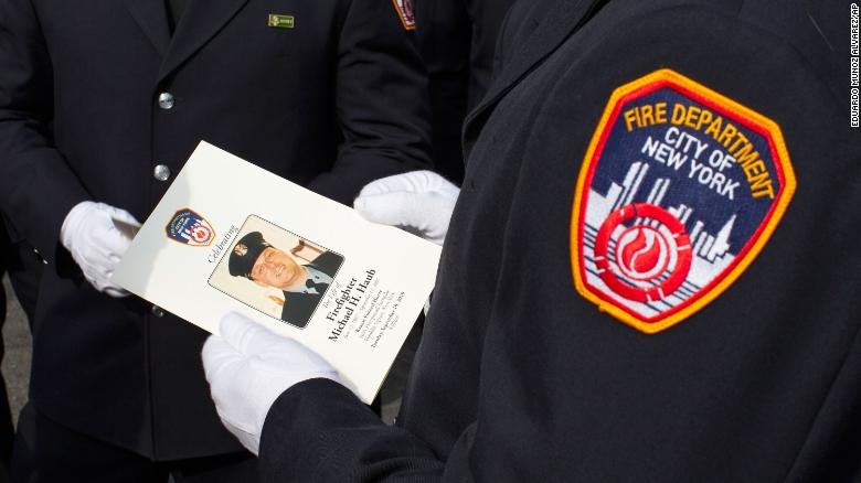 New York Fire Department members attend a funeral service for FDNY firefighter Michael Haub in New York City on Tuesday.