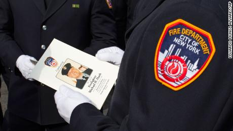 New York Fire Department members attend a funeral service for FDNY- New York City firefighter Michael Haub on Tuesday.