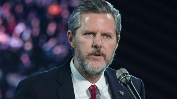 Jerry Falwell Jr. introducing presidential candidate Donald Trump at a 2016 rally at Liberty University.