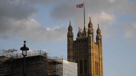 The Union Flag flies from Victoria Tower at the Houses of Parliament in London on September 4, 2019.