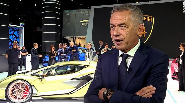 Maurizio Reggiani, Lamborghini's chief technical officer, stands in front of the Sian.