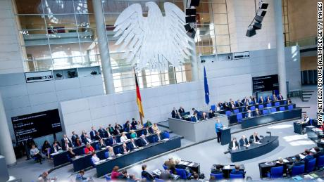 Chancellor Angela Merkel speaks in the German parliament. The possibility of major German spending to upgrade infrastructure and tackle the climate crisis is generating lots of excitement.
