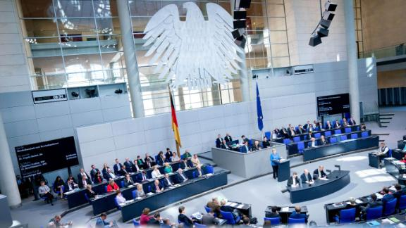 11 September 2019, Berlin: Chancellor Angela Merkel (CDU) speaks at the general debate in the German Bundestag. The main topic of the 111th session of the 19th legislative period is the draft bill of the Federal Government for the Budget Act 2020 and the Federal Finance Plan for 2019 to 2023 with the general debate on the budget of the Federal Chancellery. Photo: Kay Nietfeld/dpa (Photo by Kay Nietfeld/picture alliance via Getty Images)