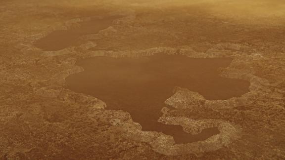 This artist's concept of a lake at the north pole of Saturn's moon Titan illustrates raised rims and rampartlike features such as those seen by NASA's Cassini spacecraft around the moon's Winnipeg Lacus. New research using Cassini radar data and modeling proposes that lake basins like these are likely explosion craters, which could have formed when liquid molecular nitrogen deposits within the crust warmed and quickly turned to vapor, blowing holes in the moon's crust. This would have happened during a warming event (or events) that occurred in a colder, nitrogen-dominated period in Titan's past. The new research may provide evidence of these cold periods in Titan's past, followed by a relative warming to conditions like those of today. Although Titan is frigid compared to Earth, methane in the atmosphere provides a greenhouse effect that warms the moon's surface.The Cassini mission is a cooperative project of NASA, ESA (the European Space Agency) and the Italian Space Agency. The Jet Propulsion Laboratory, a division of the California Institute of Technology in Pasadena, manages the mission for NASA's Science Mission Directorate, Washington. The Cassini orbiter and its two onboard cameras were designed, developed and assembled at JPL. The imaging operations center is based at the Space Science Institute in Boulder, Colorado.