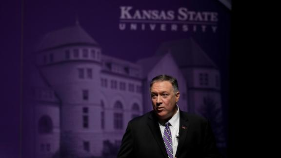Secretary of State Mike Pompeo speaking at Kansas State University Sept. 6