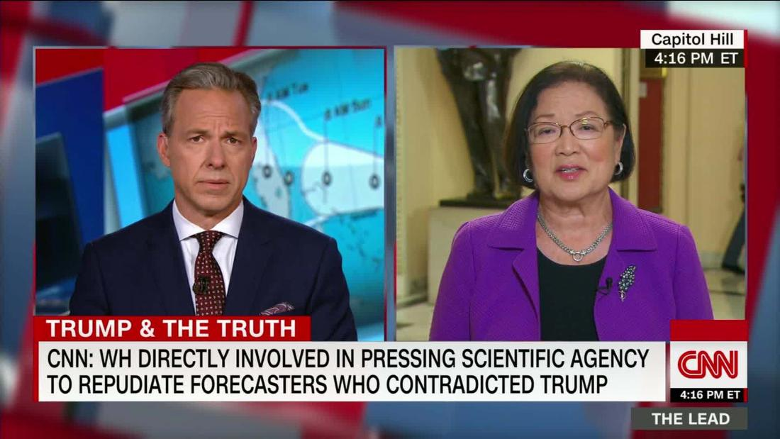 Sen. Hirono demands inspector general investigation re Trump telling NOAA to lie