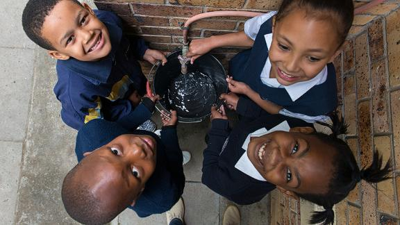 Students at AF Louw Primary in Cape Town learn about saving water after an innovative smart meter was installed at their school.