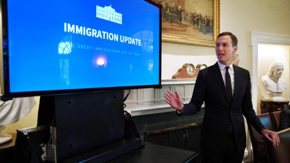 Jared Kushner, senior advisor to his father-in-law U.S. President Donald Trump, makes a presentation about immigration during a cabinet meeting at the White House July 16, 2019 in Washington, DC.