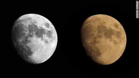 The image of the right is the moon before black and white editing.