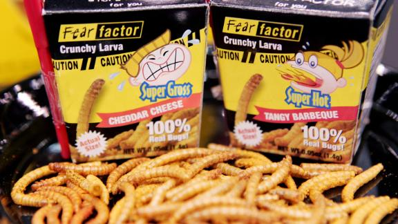 """The TV show """"Fear Factor,"""" which ran from 2001 to 2006, helped launch some innovative insect foods, such as this """"Crunchy Larva"""" candy which debuted in three flavors at the Chicago Candy Expo in 2005."""