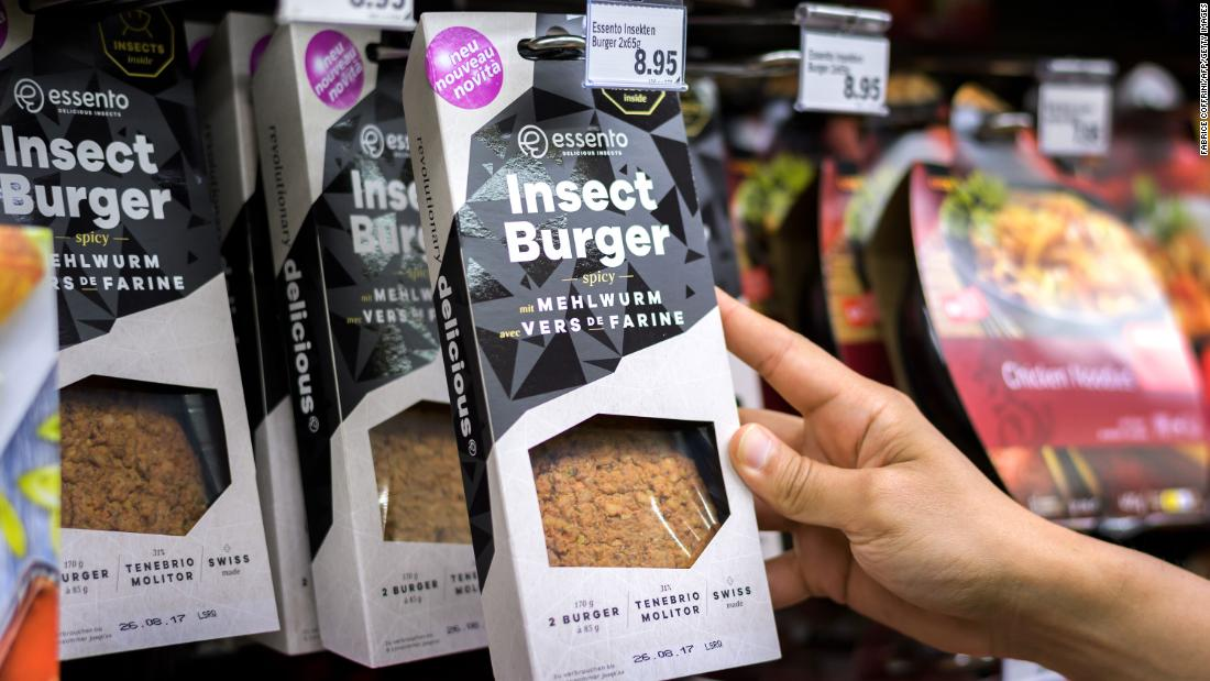 These pre-cooked insect burgers on a supermarket shelf in Geneva are based on protein-rich mealworm. Because they have a mild flavor they can easily be doctored with other ingredients for a protein-packed meal with a tiny carbon footprint.