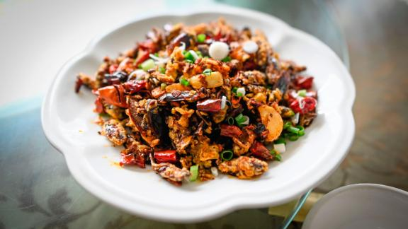 Some of the 10 million cockroaches raised at the Yibin, China, farm have ended up in this dish at a local restaurant.