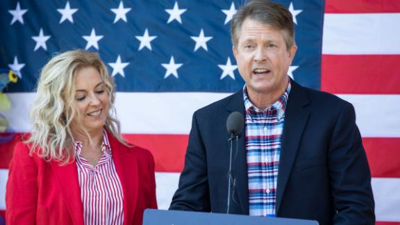 U.S. Rep. Roger Marshall, R-Kan., stands with his wife Laina as he announces a run for Senate.