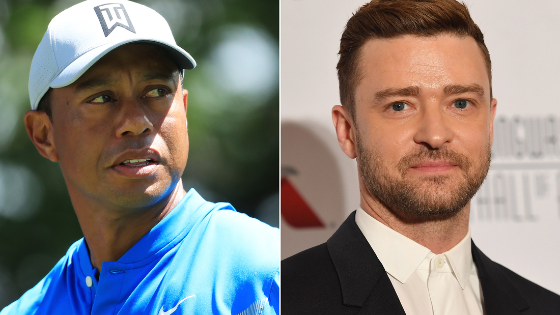 Tiger Woods, left, and Justin Timberlake