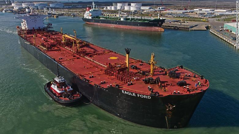 The Eagle Ford crude oil tanker sails out of the dock in Corpus Christi, Texas.