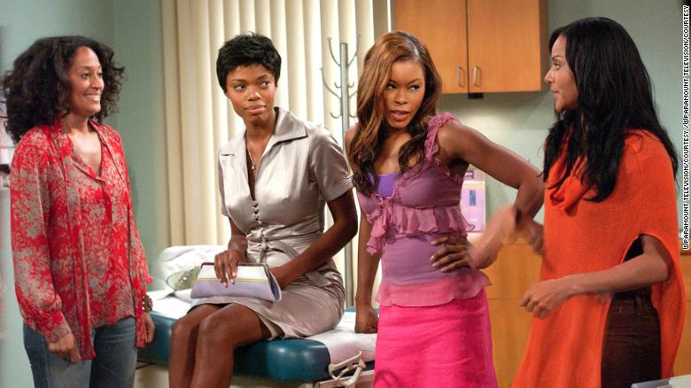 "Tracee Ellis Ross, Jill Marie Jones (sitting), Golden Brooks and Persia White in a scene from the show ""Girlfriends."""