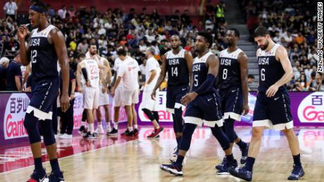 Players of Team USA show their dejection, losing to Serbia on Thursday.