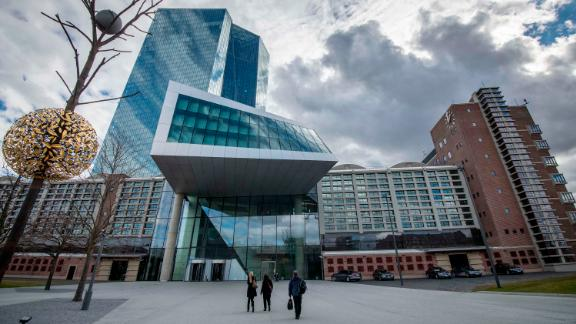 FRANKFURT AM MAIN, GERMANY - MARCH 07: Dark clouds arount the headquarters of the European Central Bank (ECB) pictured on March 7, 2019 in Frankfurt, Germany. Economic growth in the Eurozone group of nations has stalled, partially due to uncertainties caused by the tariff conflicts initiated by the administration of U.S. President Donald Trump, both with China and the European Union. (Photo by Thomas Lohnes/Getty Images)
