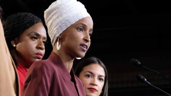 U.S. Rep. Ilhan Omar (D-MN) speaks as Rep. Rashida Tlaib (D-MI), Rep. Ayanna Pressley (D-MA), and Rep. Alexandria Ocasio-Cortez (D-NY) listen during a press conference at the U.S. Capitol on July 15
