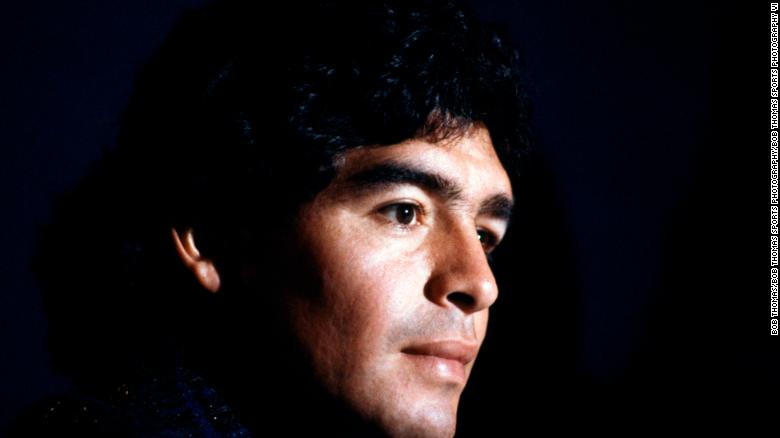 A younger Diego Maradona shortly after being voted the player of the tournament at the 1986 World Cup.