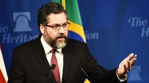 Brazilian Foreign Minister Ernesto Araujo speaking at the Heritage Foundation on September 11, 2019, in Washington, D.C.