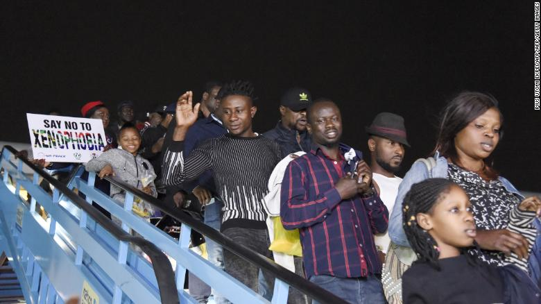 The first group of Nigerians repatriated from South Africa following xenophobic violence arrived in Lagos on Wednesday.