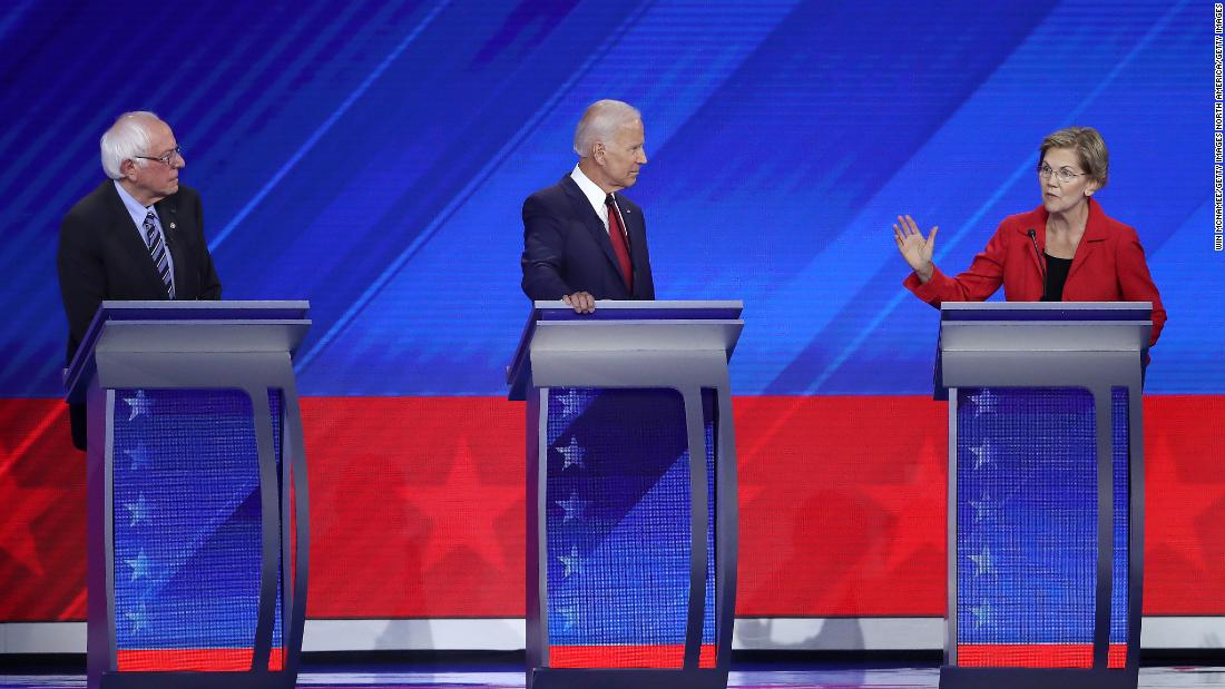 First poll after third Democratic debate shows Biden leading but Warren rising